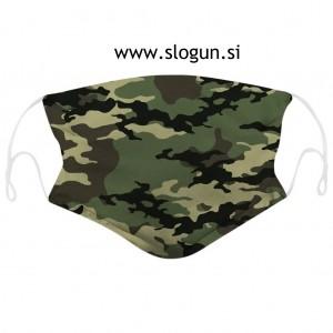 Zaščitna pralna maska v camo zeleni barvi za večkratno uporabo + 2 filtra GRATIS