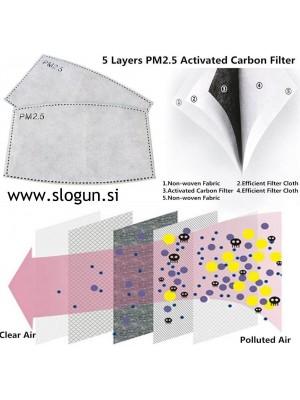 Zaščitni filtri za pralne maske iz aktivnega oglja in čvrste tkanine (set 10 filtrov)