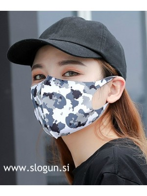 Zaščitna pralna maska v camo črno-beli barvi za večkratno uporabo
