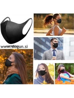 Zaščitna pralna maska v črni barvi za večkratno uporabo