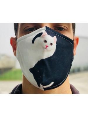 Zaščitna pralna maska v črno-beli barvi za večkratno uporabo - ZA LJUBITELJE MAČK z žepkom za filter + 2 filtra GRATIS