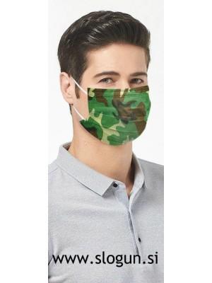 Zaščitna maska v camo-zeleni barvi za enkratno uporabo