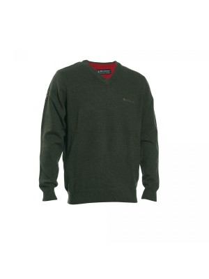 Deerhunter volneni pulover Hastings V-izrez zelen (prava volna od jagenjčka) (8841)