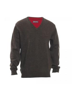 Deerhunter volneni pulover Hastings V-izrez rjav (prava volna od jagenjčka) (8841)