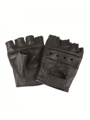 Črne usnjene strelske rokavice z odrezanimi prsti