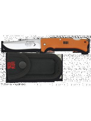 Rui mali oranžen preklopni nož + etui iz črne kordure