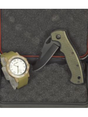 Martinez Albainox set lovskega preklopnega noža + analogne zapestne ure