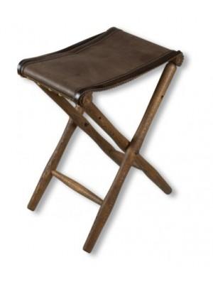 Zložljivi stol iz usnja in lesa 48cm
