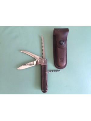 Mikov lovski preklopni nož z lesenim ročajem s 4 dodatki, model: 232-XD-4V/KP + usnjeni etui