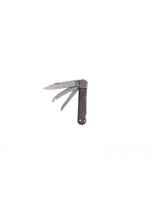 Mikov lovski preklopni nož z lesenim ročajem s 3 dodatki, model: 232-XD-3V/KP + usnjeni etui