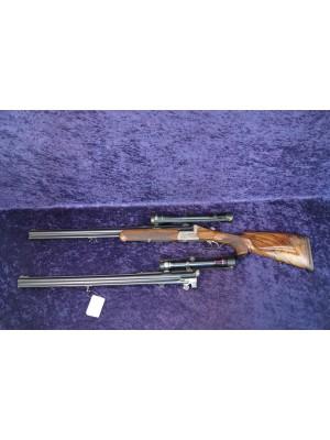 Juch / Ferlach rabljena kombinirana puška kal. 12/70 in 7x65R + menjalne cevi kal. 12/70 in 222 Rem. + strelni daljnogled Kahles Helia