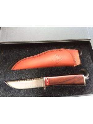 Puma fiksni nož z damaščanskim rezilom, ročaj iz Cocobolo lesa + usnjeni etui - darilna škatla