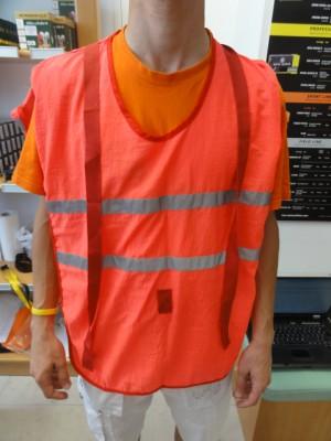 Rdeče fluoroscentni brezrokavnik (ena velikost)