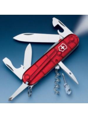 Victorinox lovski večnamenski nož Lite Red Trans z lučko