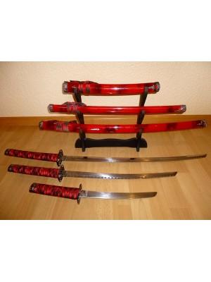 Komplet treh Katana dekorativnih japonskih samurajskih mečev