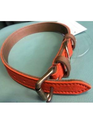 Lovska oranžna usnjena ovratnica za pse - 44 cm