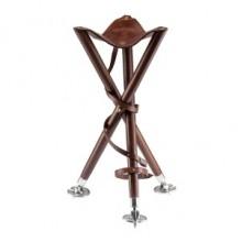 Tronožni stol iz usnja in lesa 75 cm